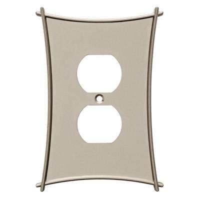 Bellaire Decorative Single Duplex Outlet Cover, Satin Nickel