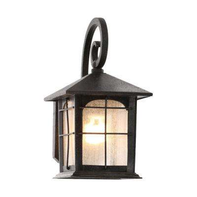 Brimfield 1-Light Aged Iron Outdoor Wall Lantern Sconce on contemporary outdoor wall ideas, rustic outdoor wall ideas, wrought iron projects, wrought iron plant hangers, concrete outdoor wall ideas, decorative outdoor wall ideas,