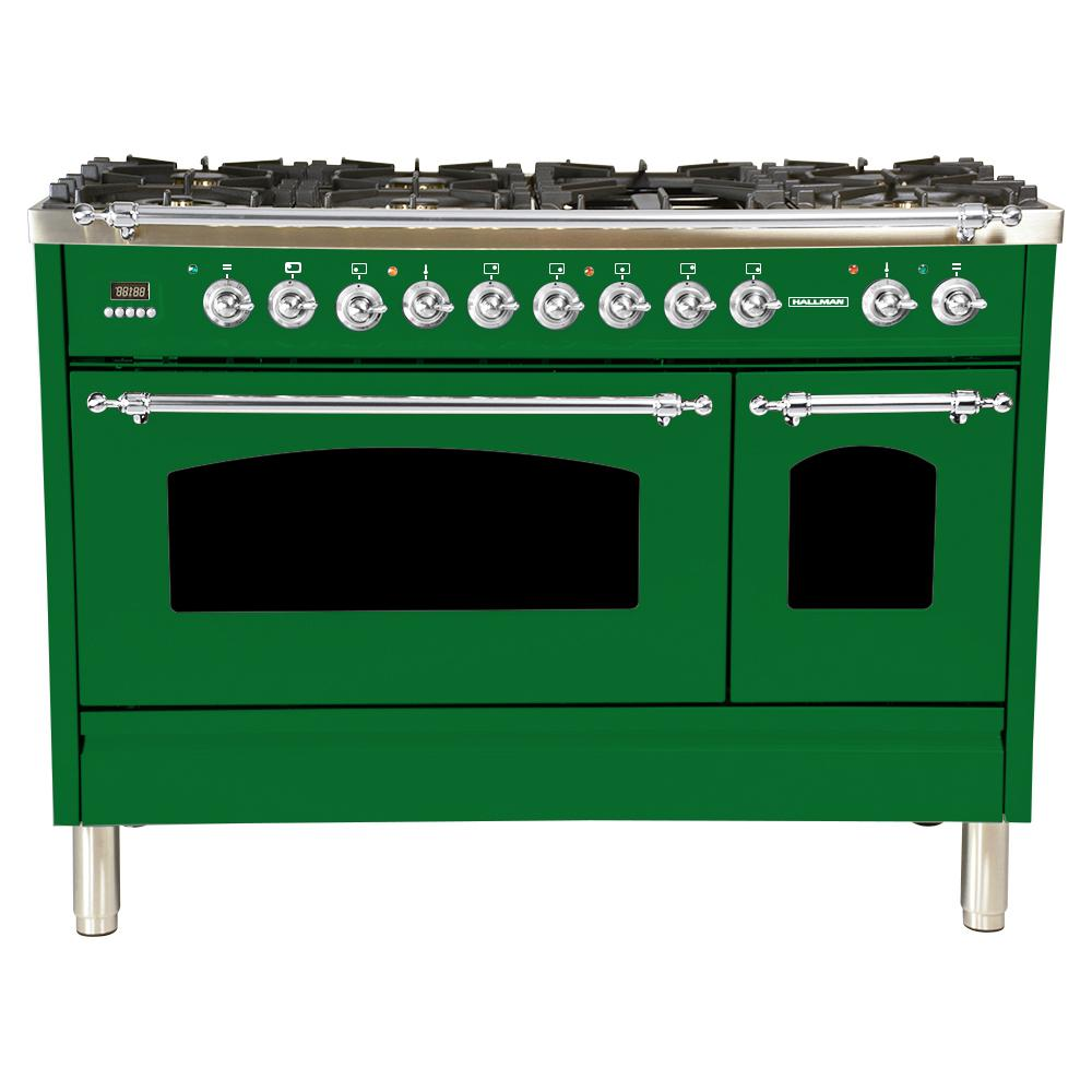 Hallman 48 in. 5.0 cu. ft. Double Oven Dual Fuel Italian Range True Convection, 7 Burners,Griddle, Chrome Trim in Emerald Green