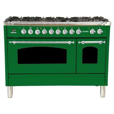 48 in. 5.0 cu. ft. Double Oven Dual Fuel Italian Range True Convection, 7 Burners,Griddle, Chrome Trim in Emerald Green
