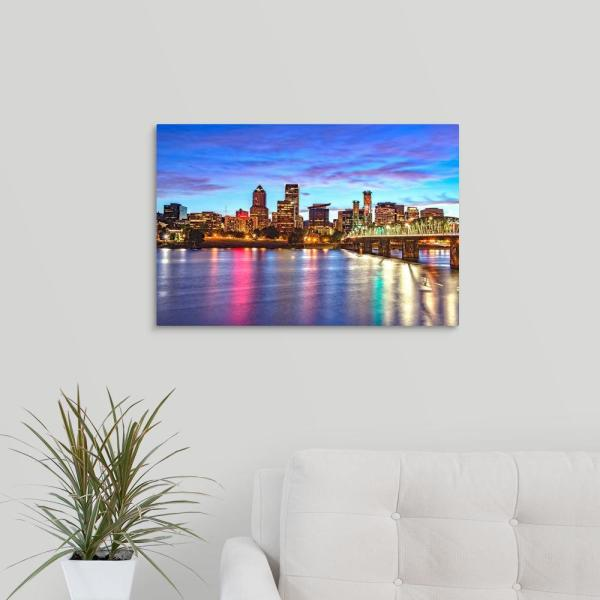 GreatBigCanvas ''Portland, OR Skyline at Sunset'' by Circle Capture Canvas Wall