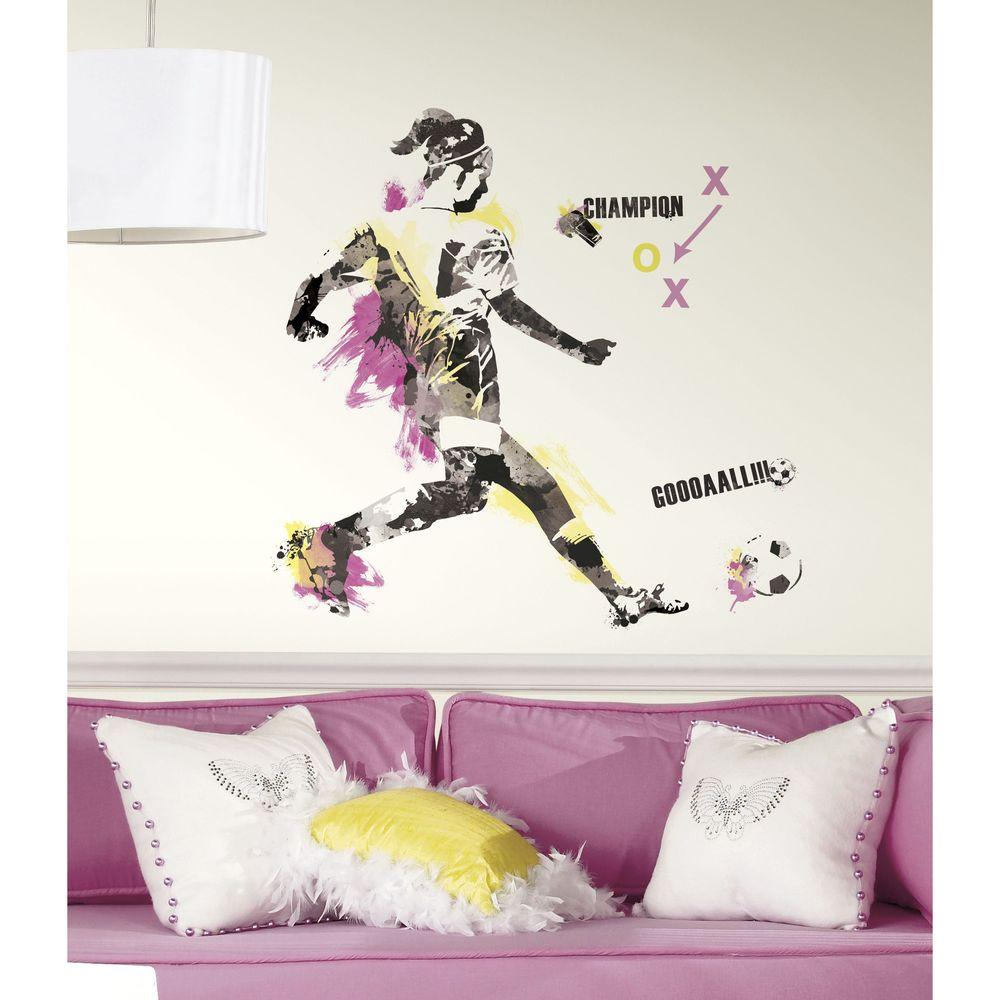 RoomMates 35.3 in. x 32.7 in. Women's Soccer Champion Peel and Stick Giant Wall Decal