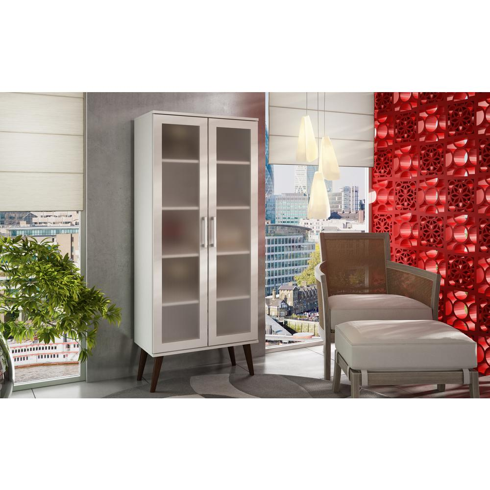 Serra 5-Shelf White Bookcase with Frosted Glass Doors and Splayed Wooden
