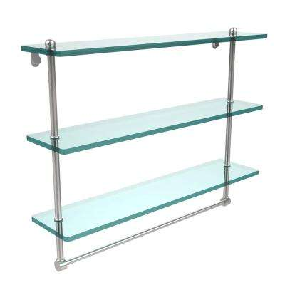 22 in. L  x 18 in. H  x 5 in. W 3-Tier Clear Glass Bathroom Shelf with Towel Bar in Polished Chrome