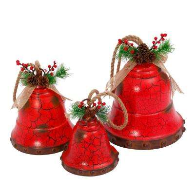 S/3 Metal Red Holiday Bells