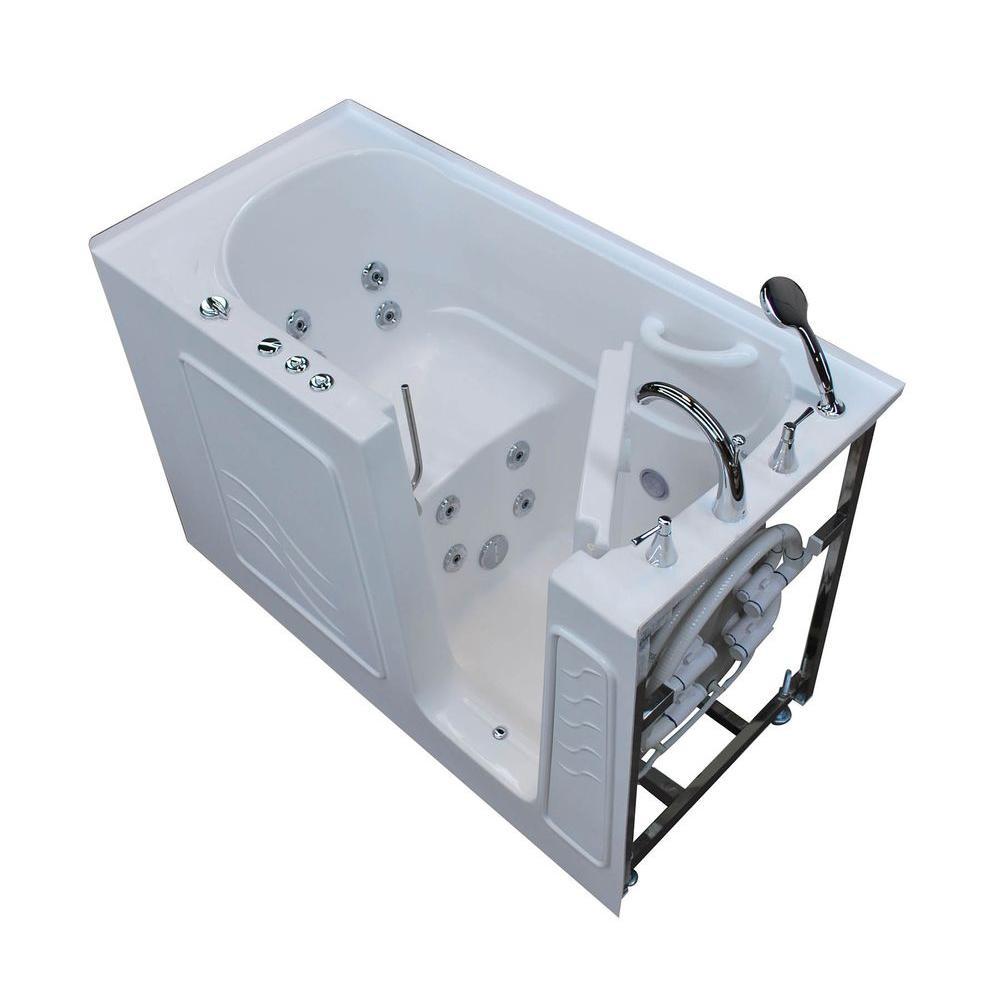 Nova Heated 5 ft. Walk-In Whirlpool Bathtub in White with Chrome Trim