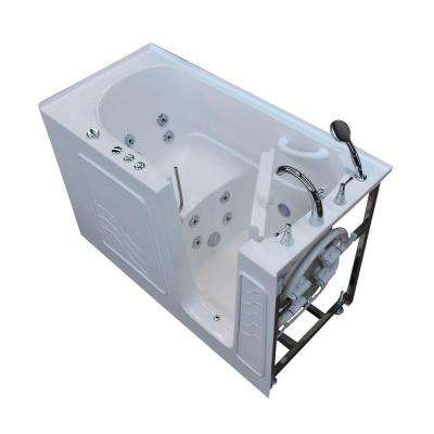 HD Series 60 in. Right Drain Quick Fill Walk-In Whirlpool Bath Tub with Powered Fast Drain in White