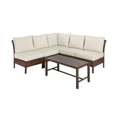 Harper Creek 6-Piece Brown Steel Outdoor Patio Sectional Sofa Seating Set with Bare Cushions