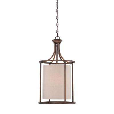 2-Light Rubbed Bronze Candle Pendant with Beige Linen Shade