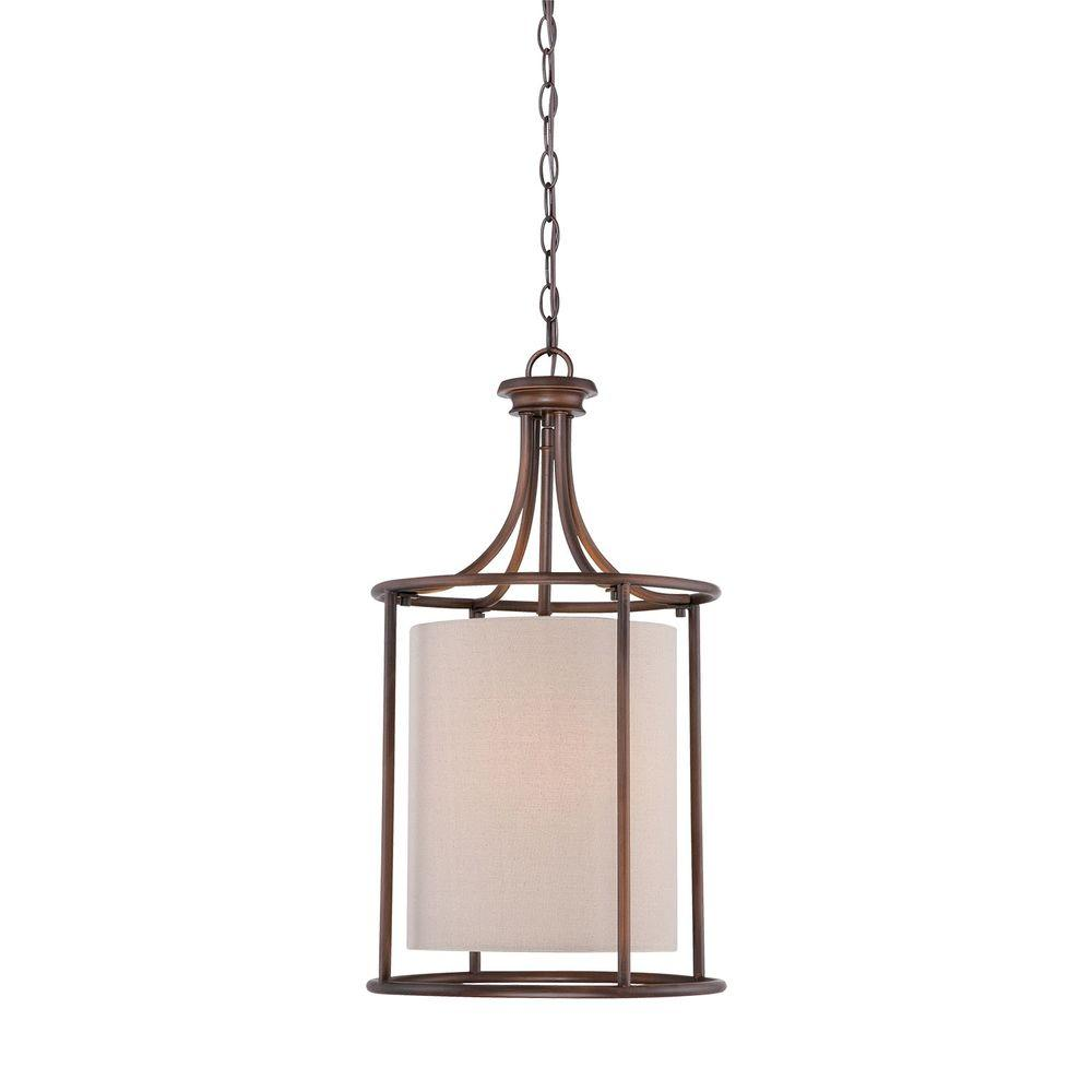 Millennium Lighting 2-Light Rubbed Bronze Candle Pendant with Beige Linen Shade