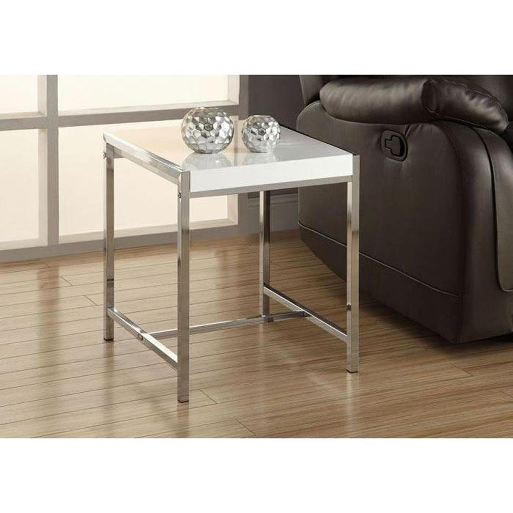 Monarch Specialties Glossy White End TableI 3050 The Home Depot
