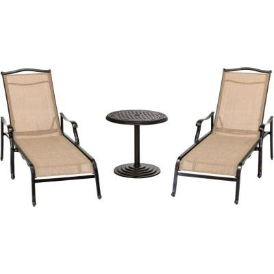 Monaco 3-Piece Aluminum Outdoor Conversation Set with 2 Chaise Lounges and a 25 in. Round Cast-Top Umbrella Side Table