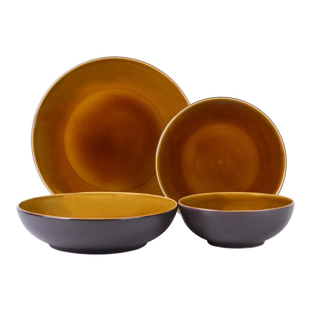 Denyer 16-Piece Amber Stoneware Dinnerware Set (Service for 4)