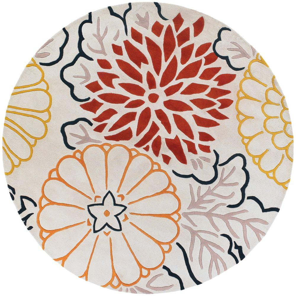 Chandra Thomaspaul Red/Gold/Cream/Brown 7 ft. 9 in. Indoor Round Area Rug