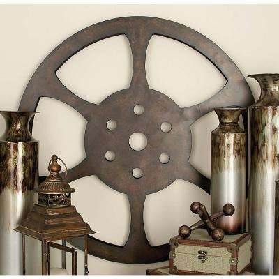 32 in. Industrial Inspired Bronze Iron Movie Reel Wall Decor