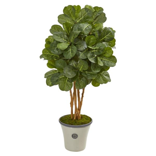 Fiddle Leaf Fig Artificial Tree Realistic Plant Nearly Natural 7' Home Decor