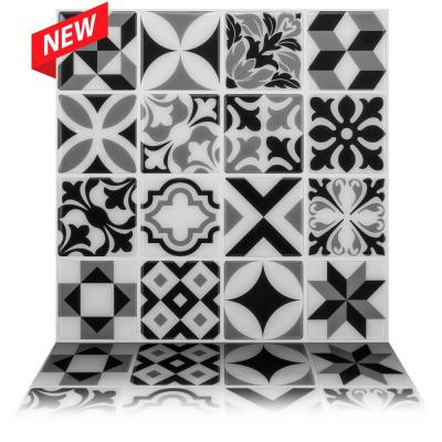 Moroccan Mono 10 in. W x 10 in. H Self Adhesive Peel and Stick Decorative Mosaic Wall Tile Backsplash (10-Tiles)