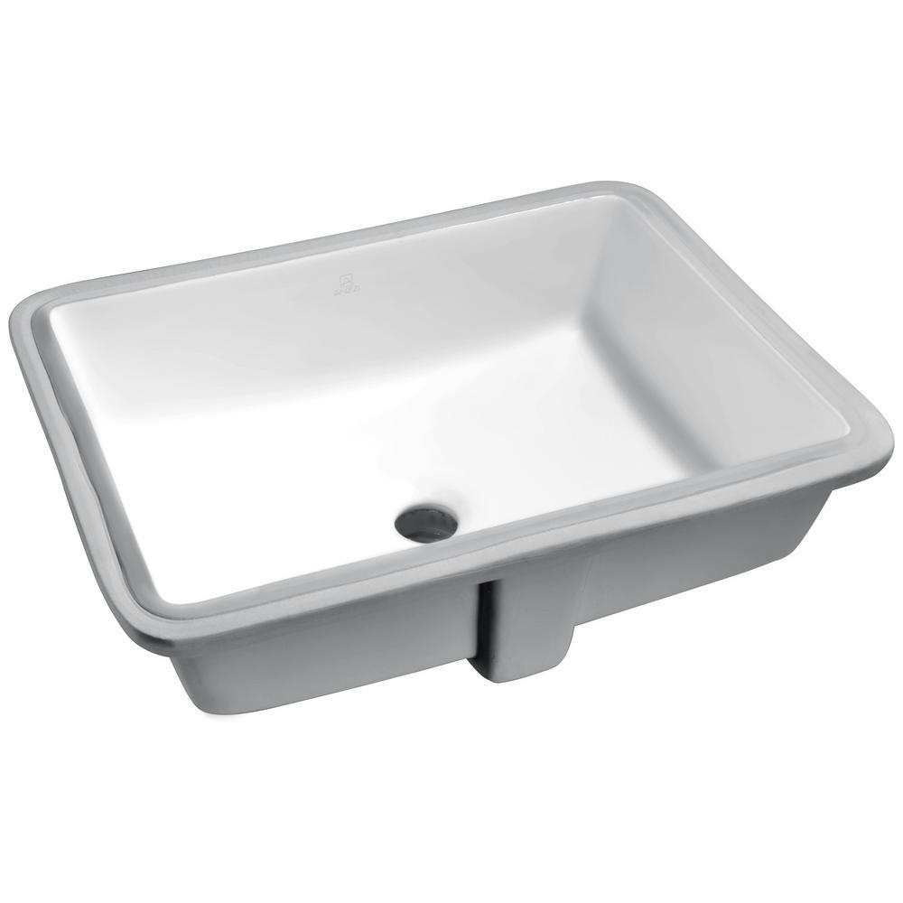 Dahlia Series 7.25 in. Ceramic Undermount Sink Basin in White