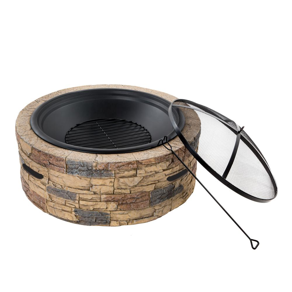 Sun Joe 28 in. Round Cast Stone Base Wood Burning Fire Pit with Dome Screen and Poker Classic Stone