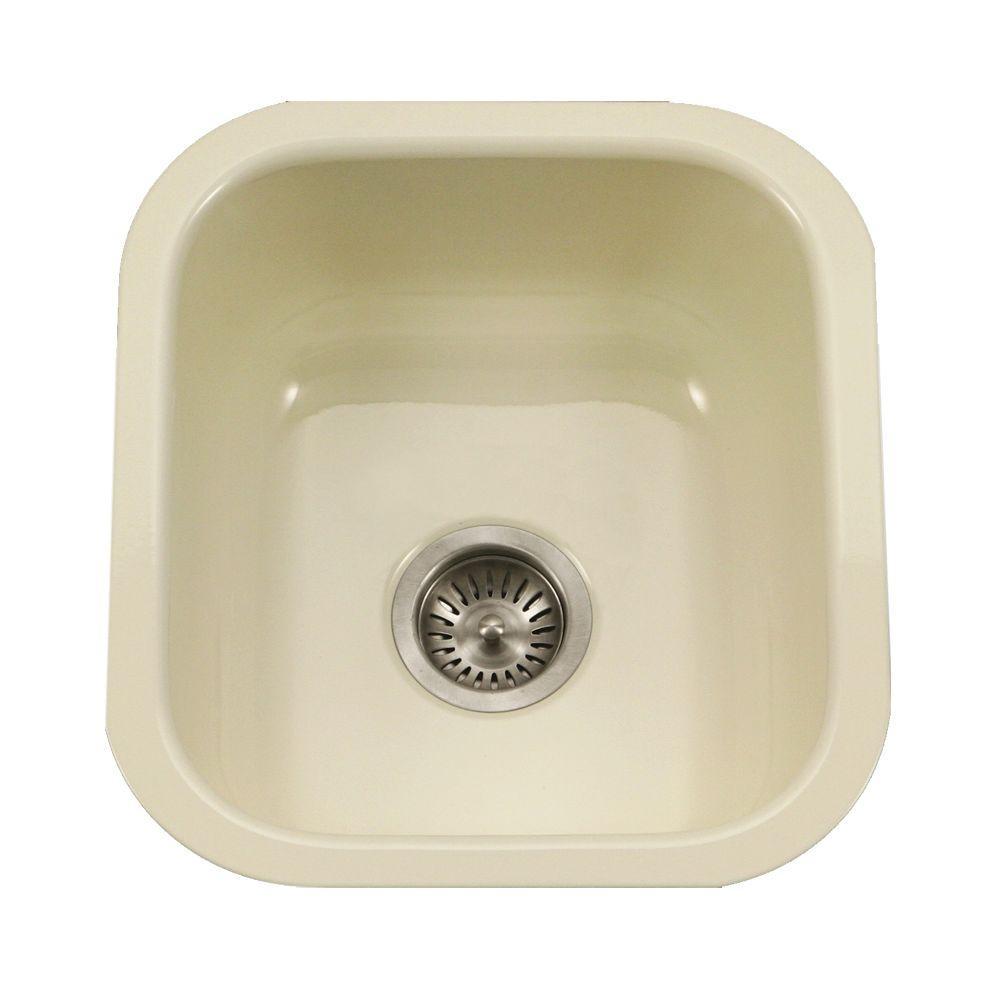 HOUZER Porcela Series Undermount Porcelain Enamel Steel 16 in. Single Bowl  Kitchen Sink in Biscuit