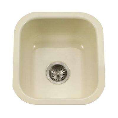 Porcela Series Undermount Porcelain Enamel Steel 16 in. Single Bowl Kitchen Sink in Biscuit