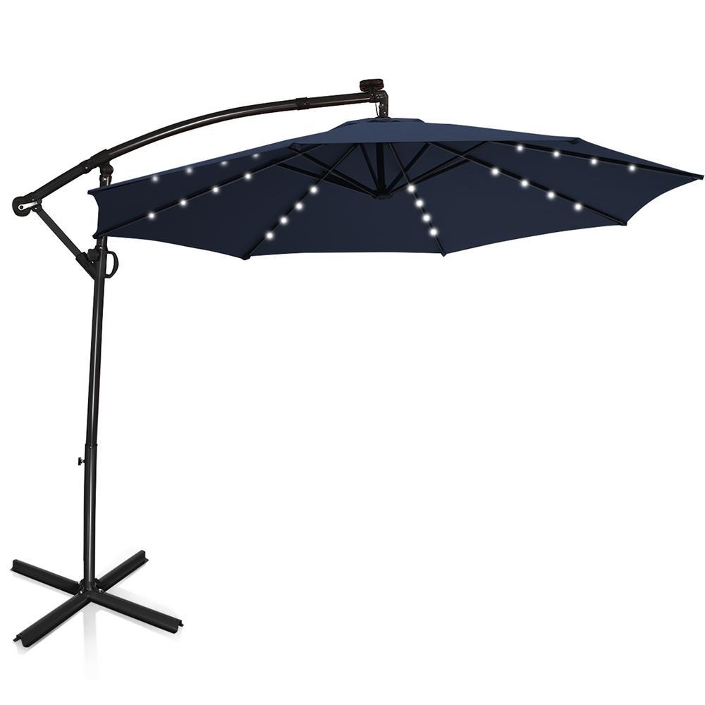 10 ft. 360-Degrees Rotation Aluminum Offset Cantilever Solar Tilt Patio Umbrella LED Lights in Navy