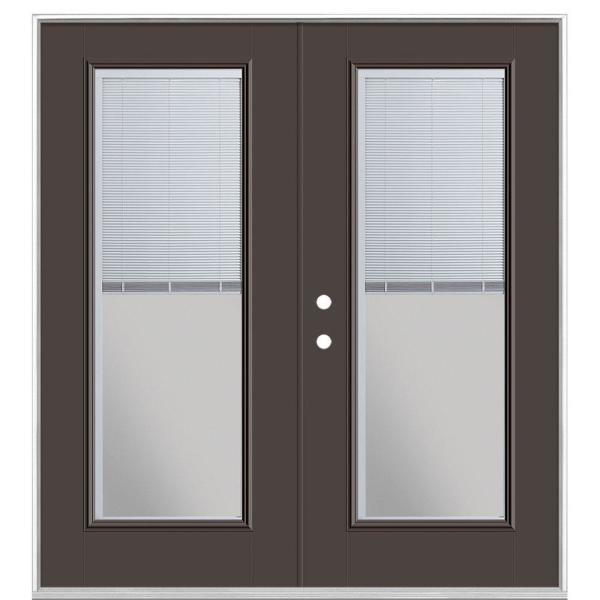 72 in. x 80 in. Willow Wood Steel Prehung Right-Hand Inswing Mini Blind Patio Door without Brickmold