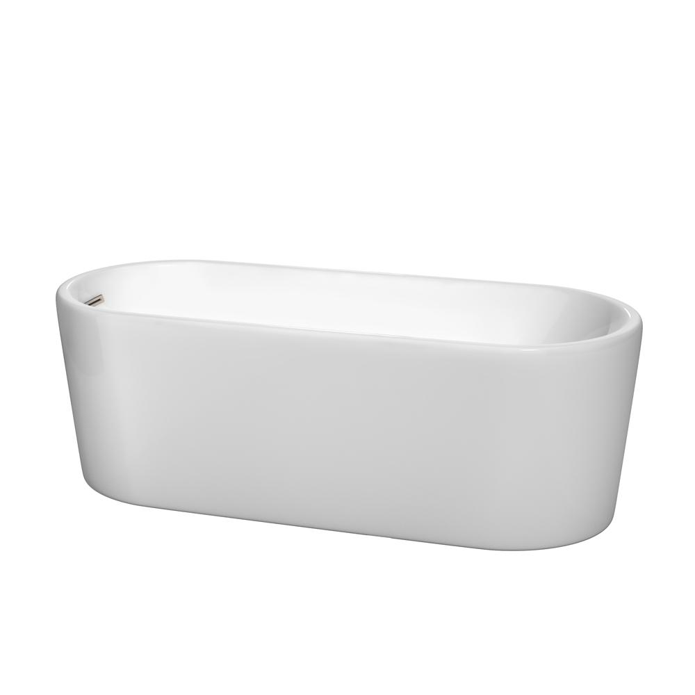 Wyndham Collection Ursula 5.6 ft. Acrylic Flatbottom Non-Whirlpool Bathtub in White with Brushed Nickel Trim