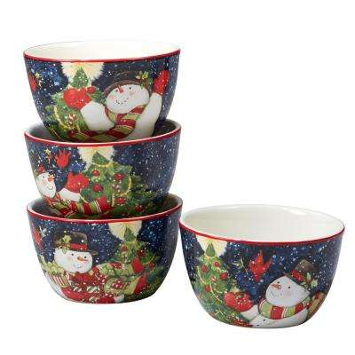 Starry Night Snowman by Susan Winget 5.25 in. Ice Cream Bowl (Set of 4)