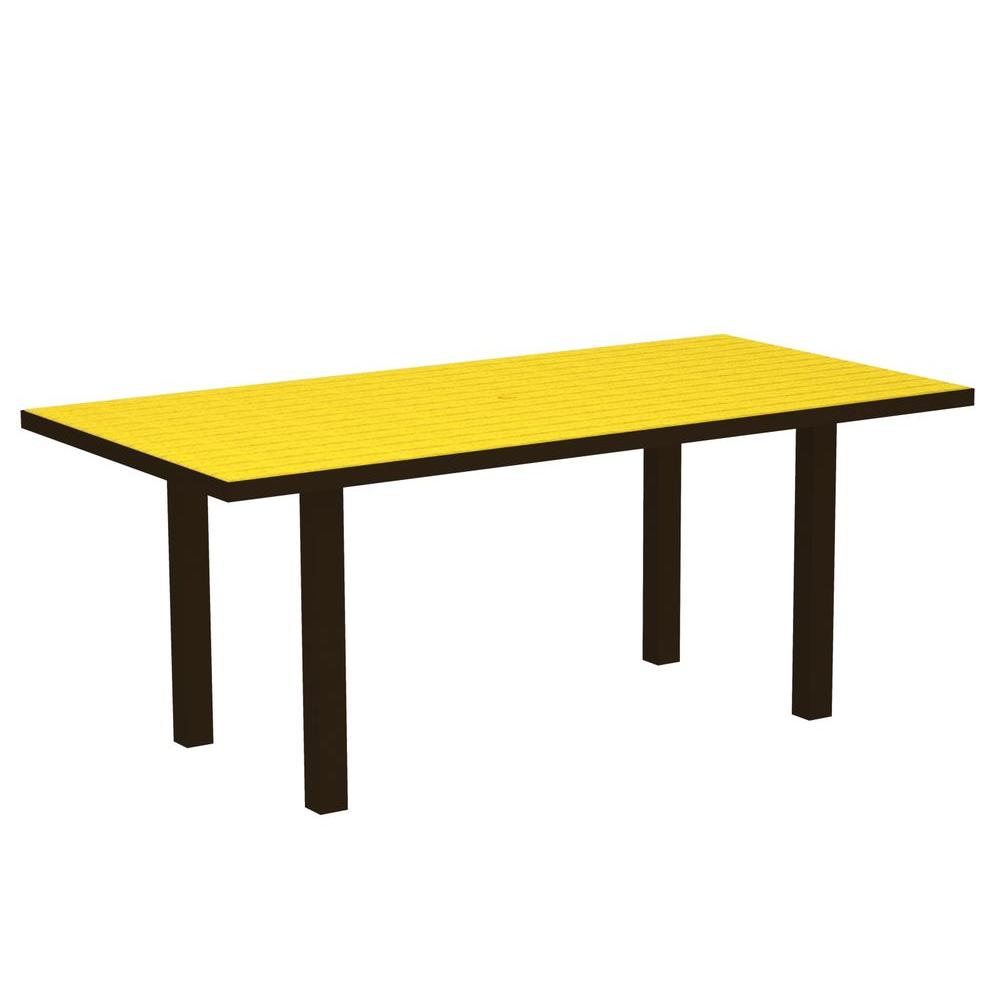 POLYWOOD Euro Textured Bronze 36 in. x 72 in. Plastic Outdoor Patio Dining Table with Lemon Top