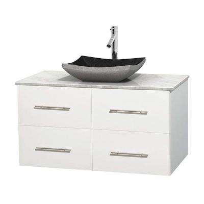 Centra 42 in. Vanity in White with Marble Vanity Top in Carrara White and Black Granite Sink