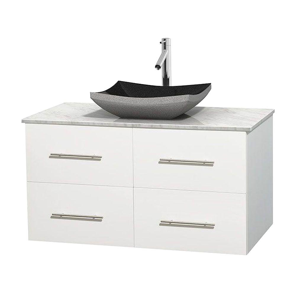 Wyndham collection centra 42 in vanity in white with White bathroom vanity with black top