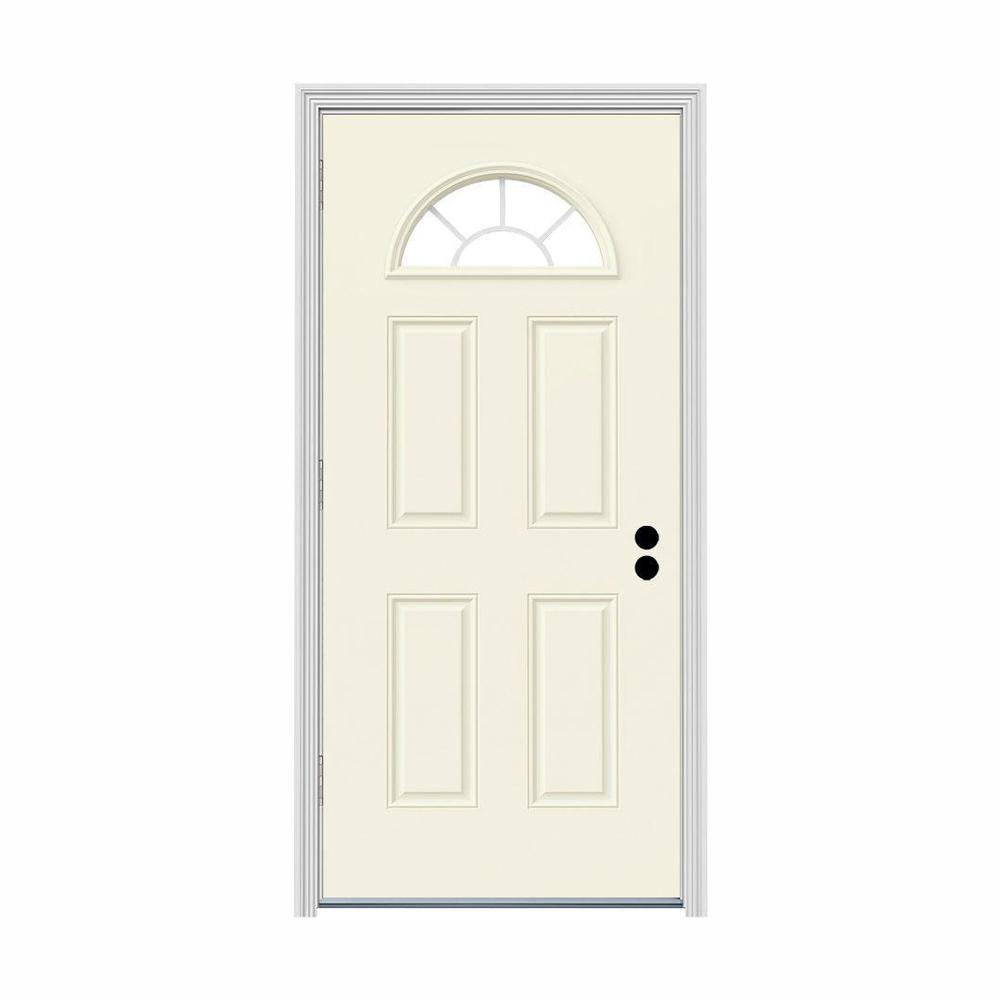JELD-WEN 30 in. x 80 in. Fan Lite Vanilla Painted Steel Prehung Right-Hand Outswing Front Door w/Brickmould