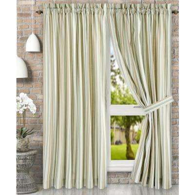 Mason 90 in. W x 63 in. L Stripe Poly/Cotton Tailored Pair Curtains with Ties in Spa