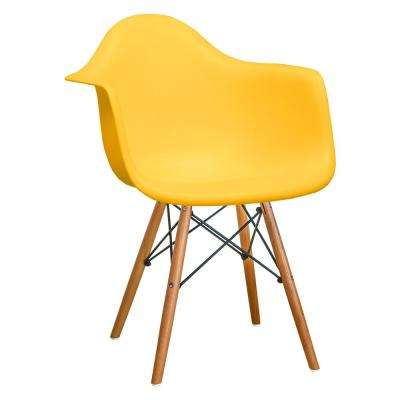 Paris Tower Dining Yellow Arm Chair with Wood Legs (Set of 2)