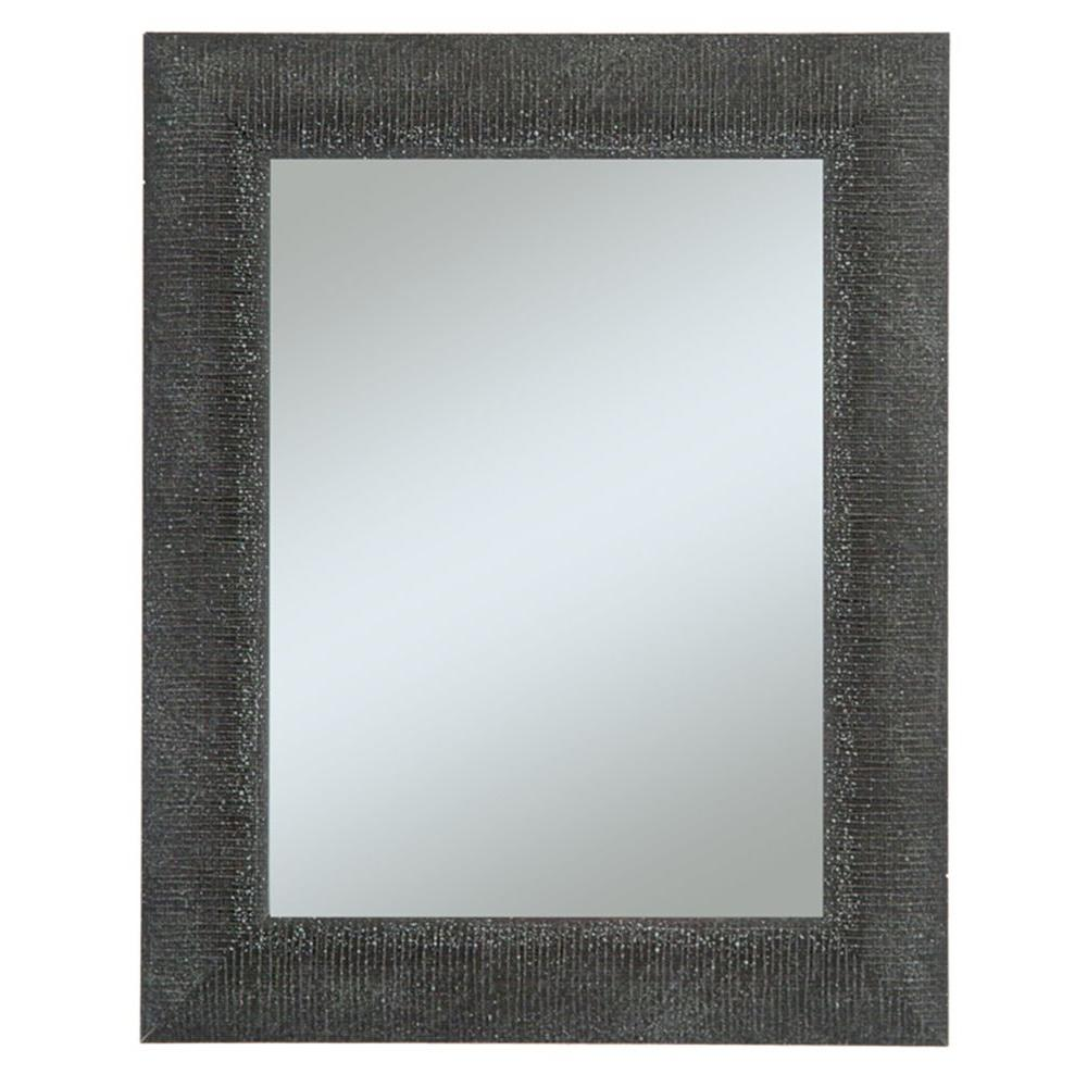 null Camile 28 in. x 34 in. Black Textured with Silver Accents Framed Wall Mirror