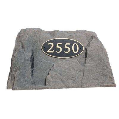 39 in. L x 21 in. W x 21 in. H Plastic Rock Cover with Oval Sign in Brown/Black