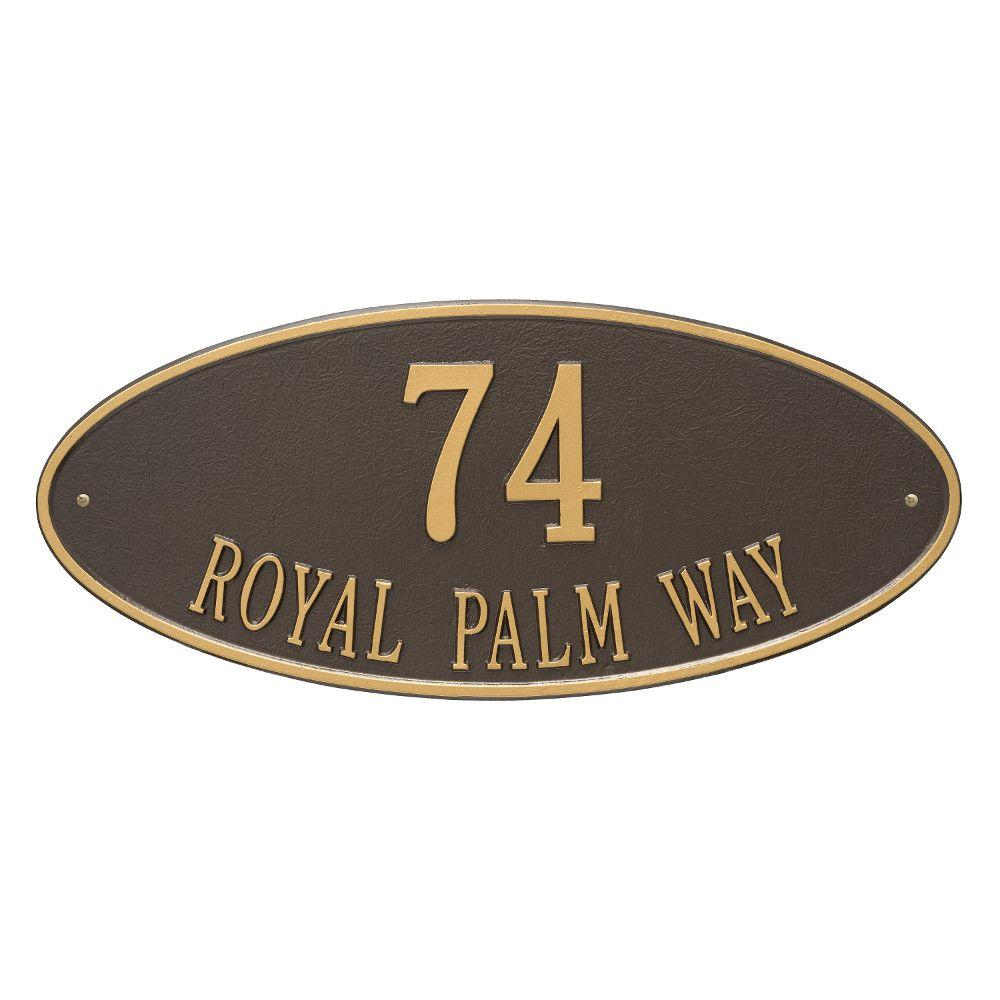 Whitehall Products Madison Estate Oval Bronze/Gold Wall 2-Line Address Plaque