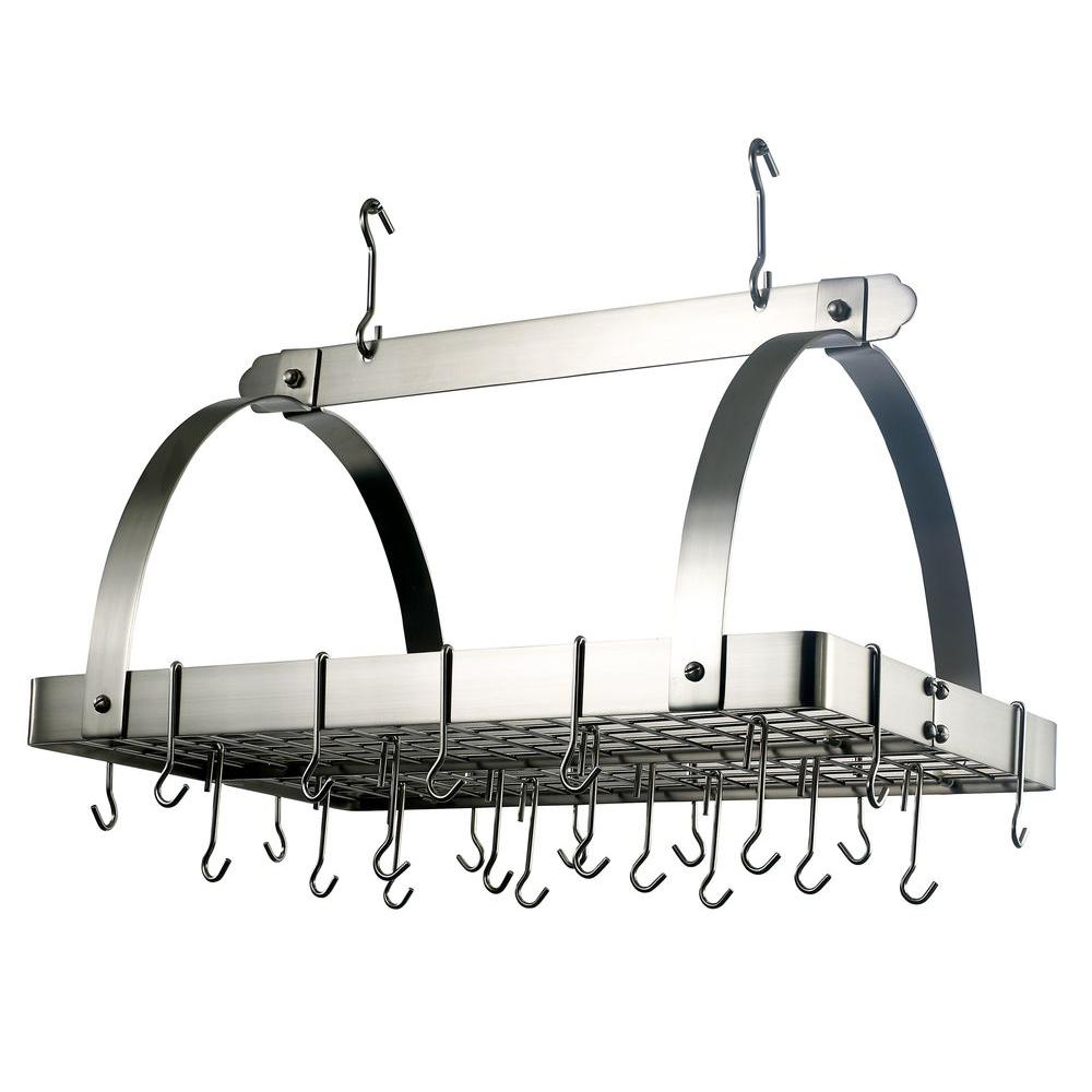 Old Dutch 30 in. x 20.5 in. x 15.75 in. Satin Nickel Pot Rack with Grid and 24 Hooks
