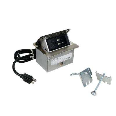 DeQuorum Flip-Up Stainless Steel Countertop Box with 15 Amp Tamper Resistant Receptacle and USB with 6 ft. Cord