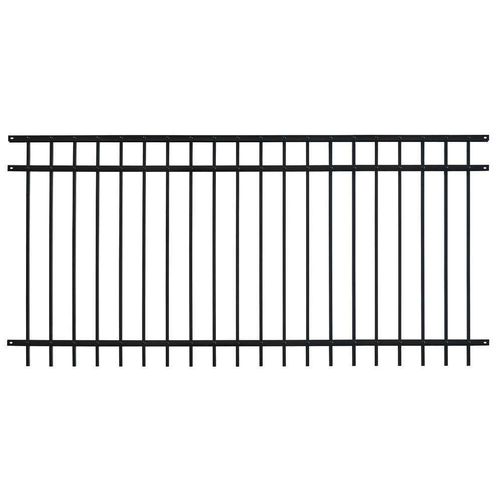 Pro Series 4.84 ft. H x 7.67 ft. W Black Steel Adjustable Fence Panel