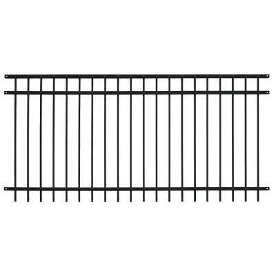 Pro Series 4.84 ft. H x 7.67 ft. W Black Steel Adjustable Fence Panel
