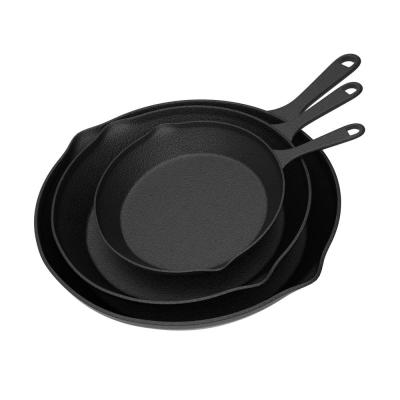 Pre-Seasoned 3-Piece Cast Iron Skillet Set in Black