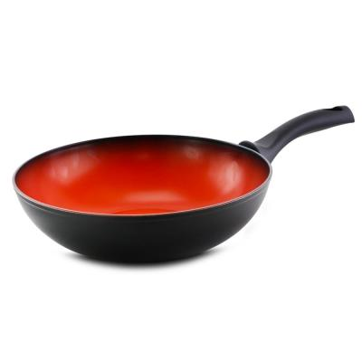 Terra-Cotta 11 in. Aluminum Nonstick Wok in Red and Black