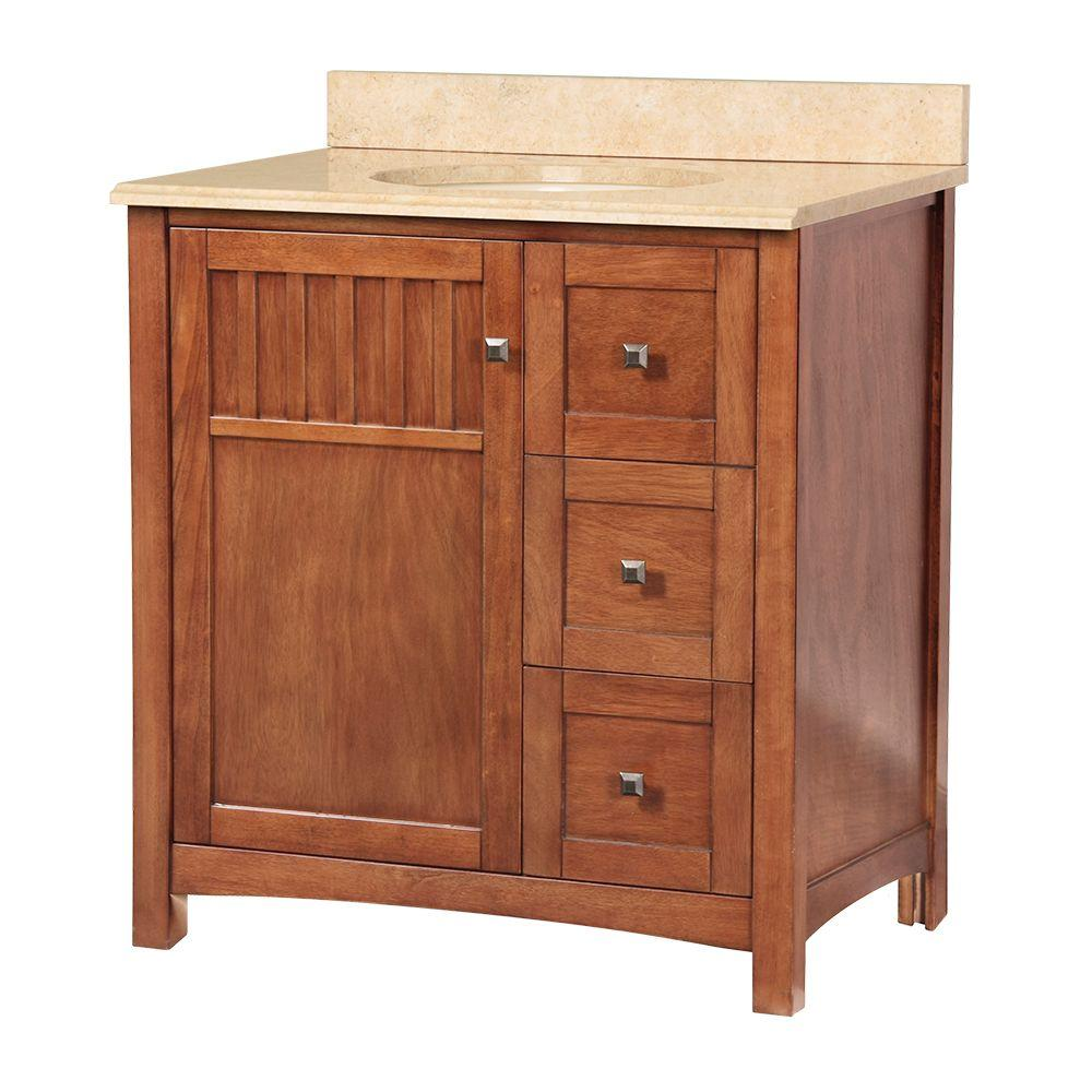 Foremost Knoxville 31 in. W x 22 in. D Vanity in Nutmeg with Vanity Top and Stone Effects in Oasis