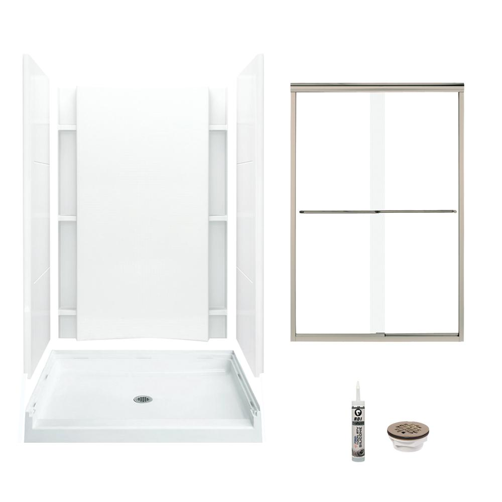 Sterling Accord 36 In X 48 77 Center Drain And Backers Alcove Shower Kit White Brushed Nickel