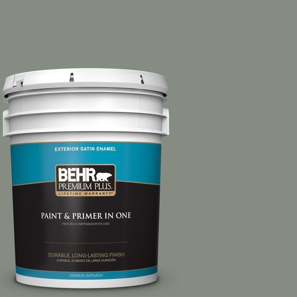 BEHR Premium Plus 5-gal. #PPF-34 Peaceful Glade Satin Enamel Exterior Paint