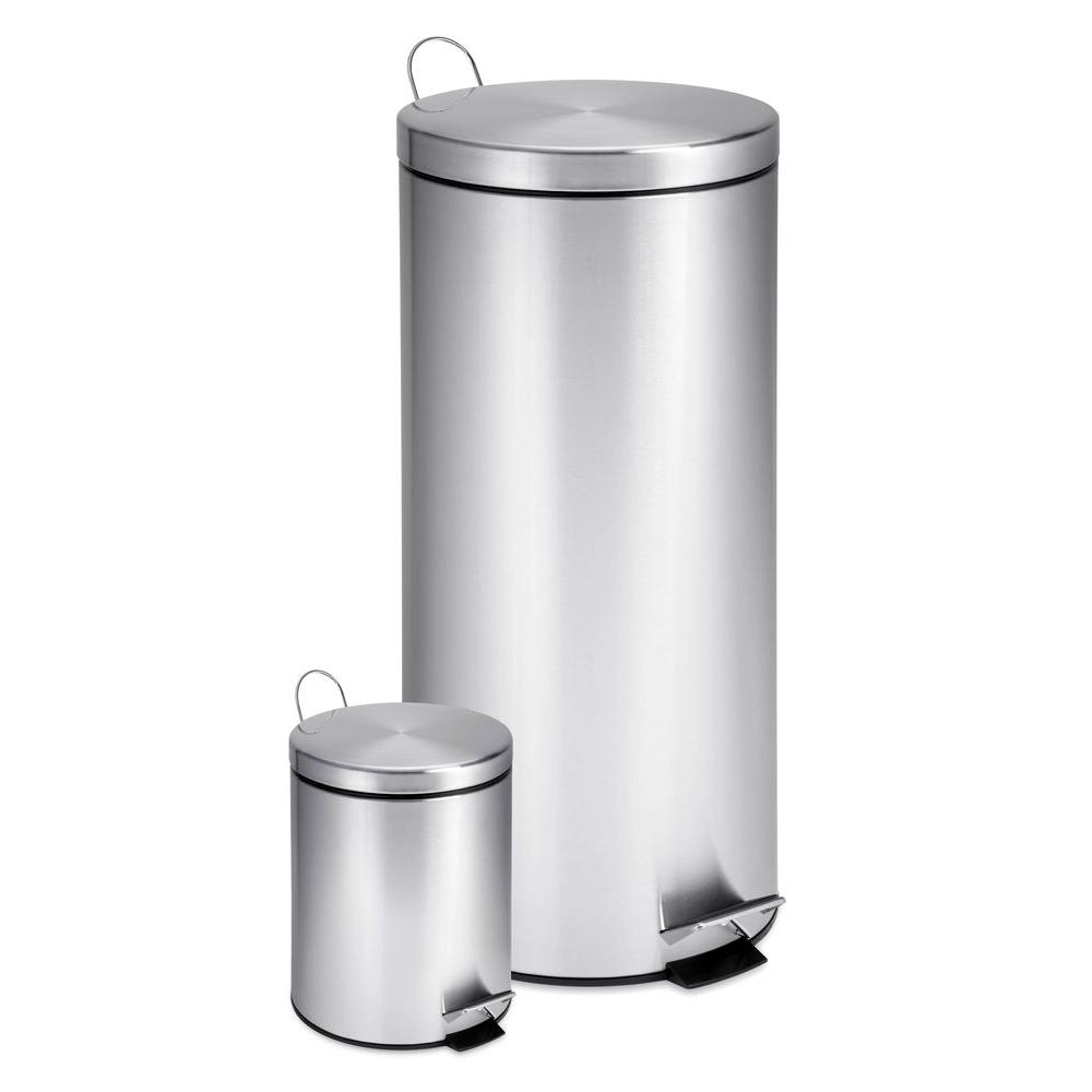 Honey-Can-Do 7.9 Gal. and 0.8 Gal. Stainless Steel Step-On Touchless ...