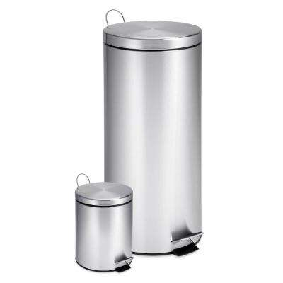 30L and 3L Stainless Steel Step Trash Can Combo, Round