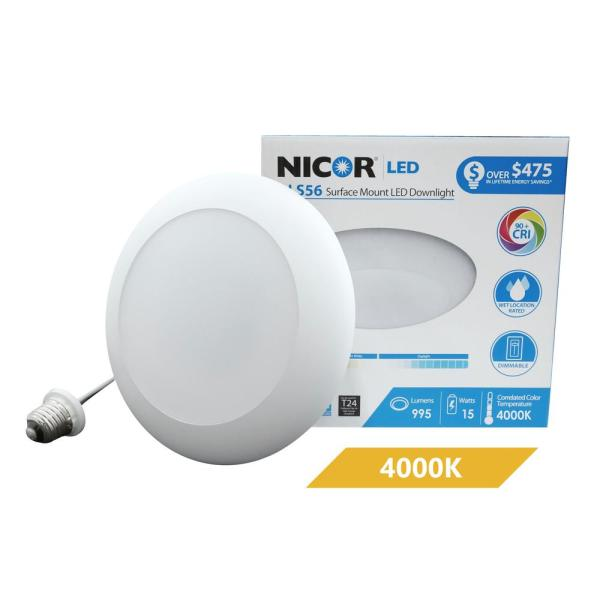 DLS 5/6 in. White 900 Lumen Integrated LED Recessed Surface Mount Trim in 4000K